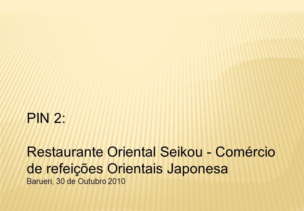 12   RESTAURANTE SEIKOU (PIN 2 /GE-15) Redes Fast Food 5 Comida Chinesa 1 Padarias 3 Tradicional Buffet 4 Tradicional por Kg 4 Tradicional à la Carte 3 Comida Árabe 1 Massa 1 Comida Japonesa 1