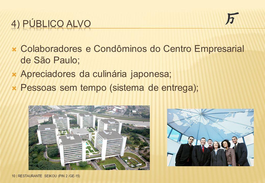  Colaboradores e Condôminos do Centro Empresarial de São Paulo;  Apreciadores da culinária japonesa;  Pessoas sem tempo (sistema de entrega); 10 |