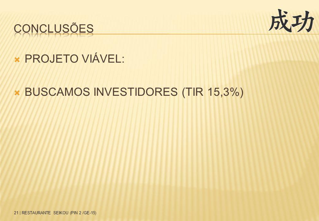  PROJETO VIÁVEL:  BUSCAMOS INVESTIDORES (TIR 15,3%) 21 | RESTAURANTE SEIKOU (PIN 2 /GE-15)
