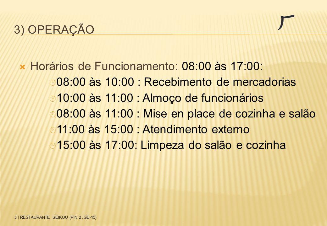 3) OPERAÇÃO  Horários de Funcionamento: 08:00 às 17:00:  08:00 às 10:00 : Recebimento de mercadorias  10:00 às 11:00 : Almoço de funcionários  08: