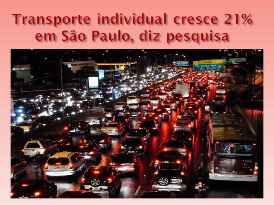  Cresceu 21% o número de pessoas que optam por carro e moto para se deslocar na Grande São Paulo em cinco anos, informou a Secretaria de Estado dos Transportes Metropolitanos.