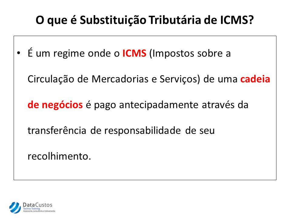 O que é Substituição Tributária de ICMS? É um regime onde o ICMS (Impostos sobre a Circulação de Mercadorias e Serviços) de uma cadeia de negócios é p