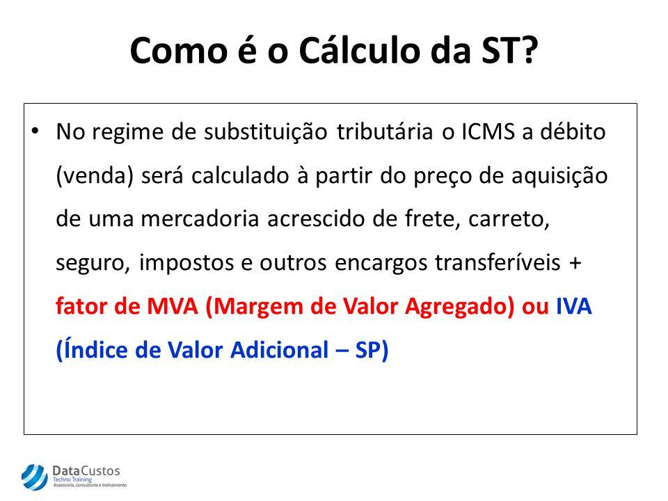 Como é o Cálculo da ST? No regime de substituição tributária o ICMS a débito (venda) será calculado à partir do preço de aquisição de uma mercadoria a