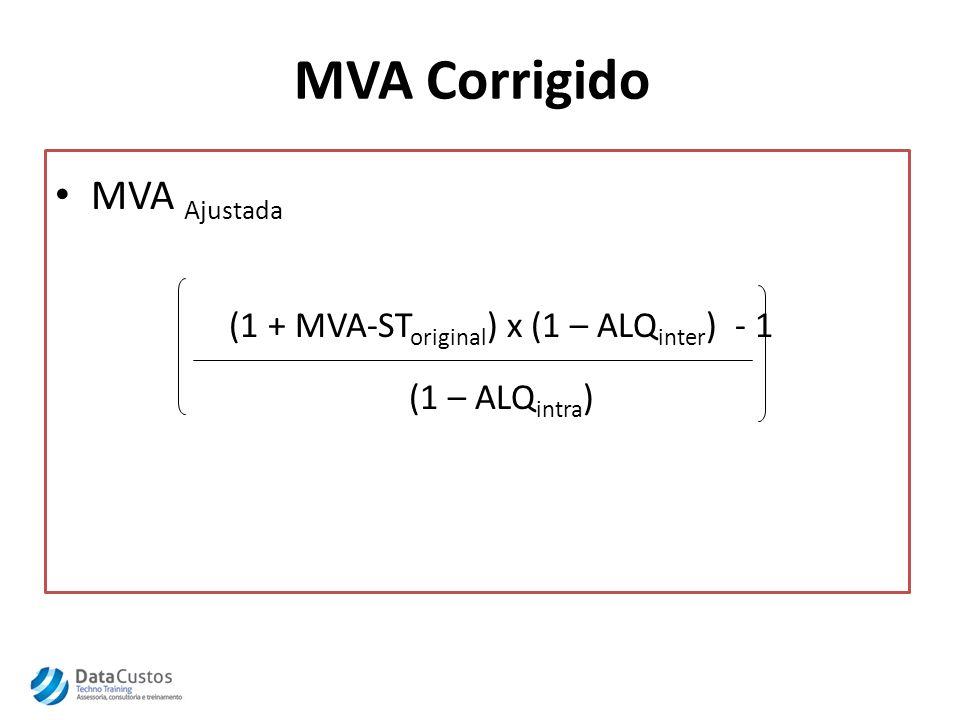 Exemplo Base de cálculo = R$100,00 – Alíquota interestadual = 12% (origem) – MVA ST = 38,90% – Alíquota interna = 18% (destino) MVA ST = (1 + 0,3890) x (1 – 0,12) – 1 = 49,06% (1 - 0,18) ICMS ST = [100,00 x (1+0,4906) x 0,18] – (100,00 x 0,12) = R$ 14,83 Total Operação = 100,00 + 14,83= R$ 114,83