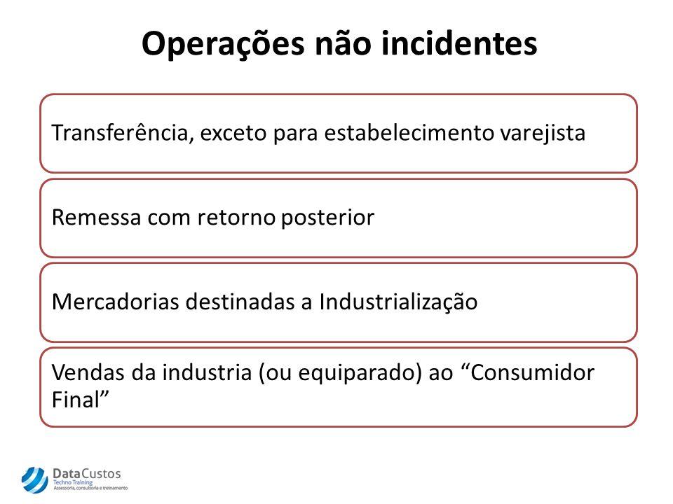 Operações não incidentes Transferência, exceto para estabelecimento varejistaRemessa com retorno posteriorMercadorias destinadas a Industrialização Vendas da industria (ou equiparado) ao Consumidor Final