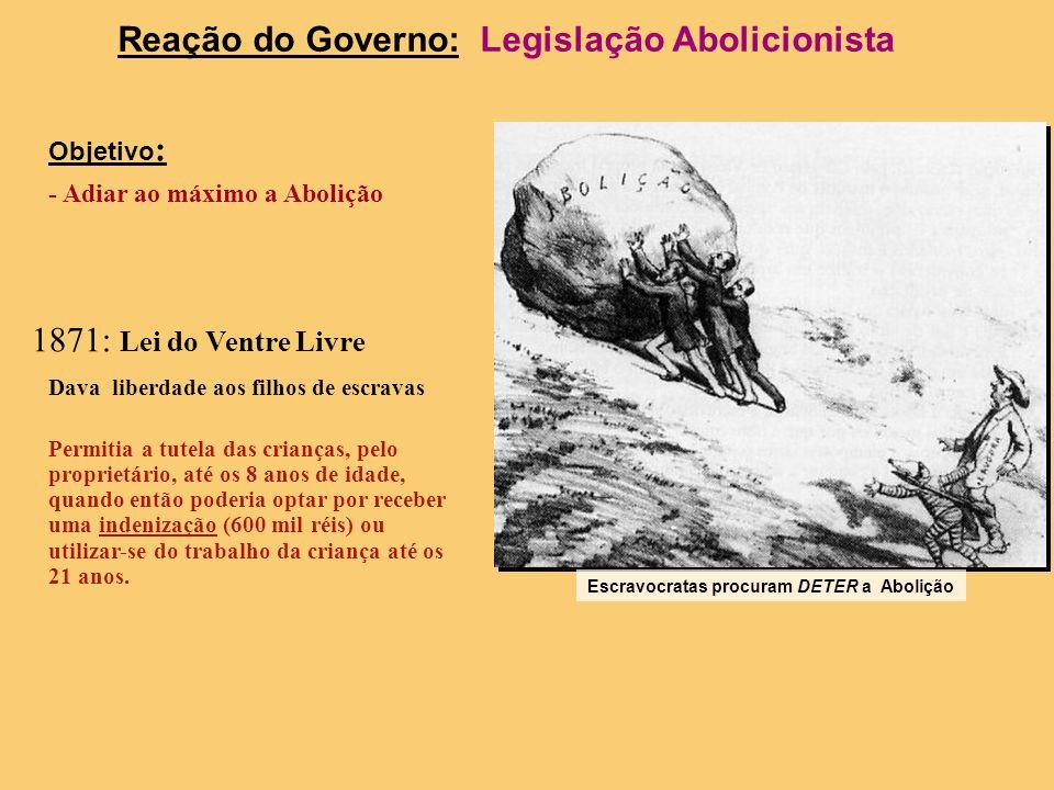 Movimento Abolicionista Criam-se clubes abolicionistas: -Sociedade Brasileira contra a Escravidão (RJ) -Centro Abolicionista (SP) -Caifazes (SP) Lança