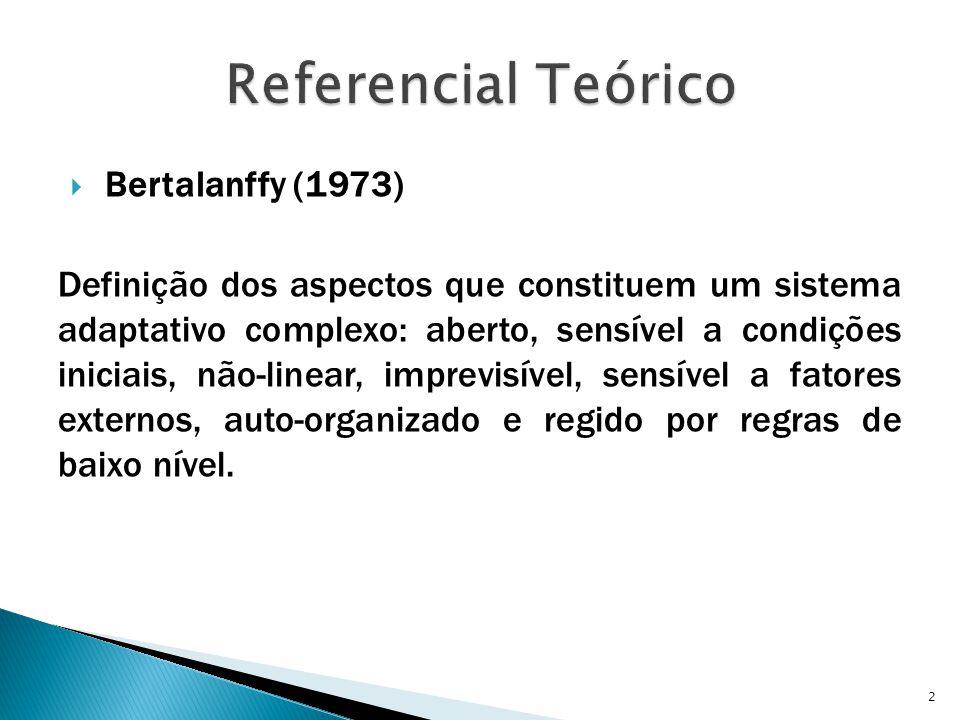  Bertalanffy (1973) Definição dos aspectos que constituem um sistema adaptativo complexo: aberto, sensível a condições iniciais, não-linear, imprevisível, sensível a fatores externos, auto-organizado e regido por regras de baixo nível.