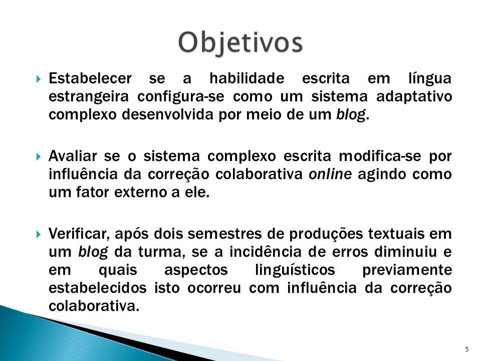  Estabelecer se a habilidade escrita em língua estrangeira configura-se como um sistema adaptativo complexo desenvolvida por meio de um blog.  Avali