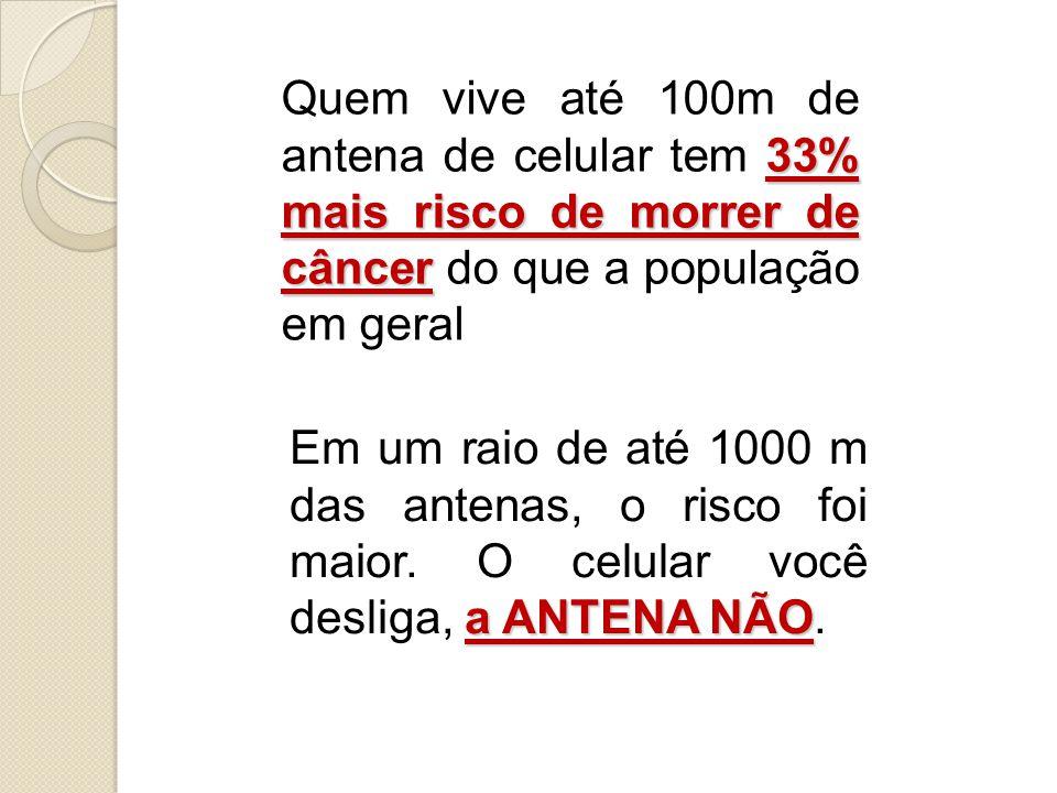 33% mais risco de morrer de câncer Quem vive até 100m de antena de celular tem 33% mais risco de morrer de câncer do que a população em geral a ANTENA