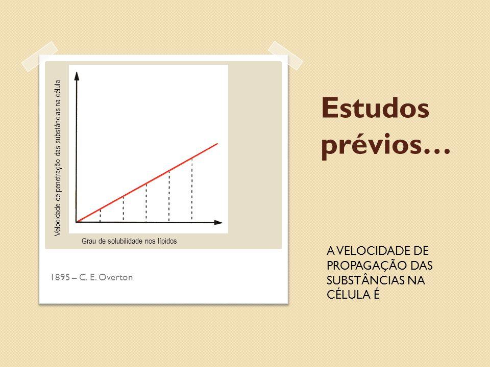 Estudos prévios… 1895 – C. E. Overton Velocidade de penetração das substâncias na célula Grau de solubilidade nos lípidos A VELOCIDADE DE PROPAGAÇÃO D