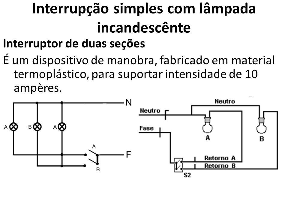 Interrupção simples com lâmpada incandescênte Interruptor de duas seções É um dispositivo de manobra, fabricado em material termoplástico, para suport