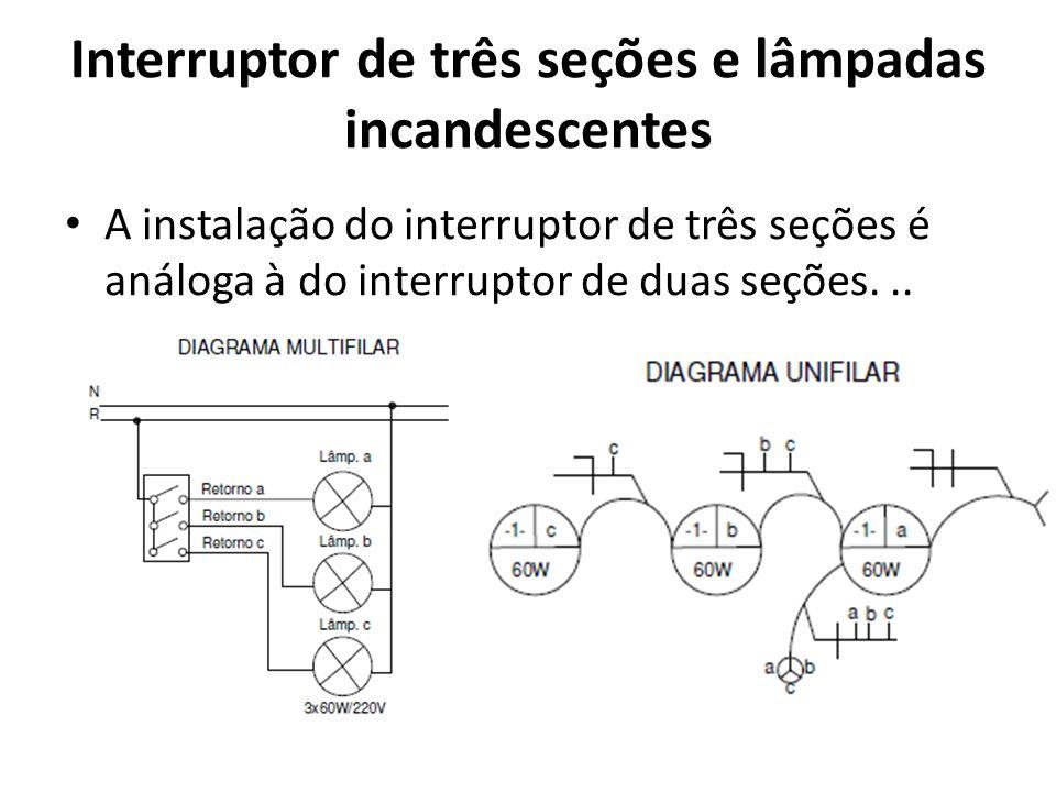 Interruptor de três seções e lâmpadas incandescentes A instalação do interruptor de três seções é análoga à do interruptor de duas seções...