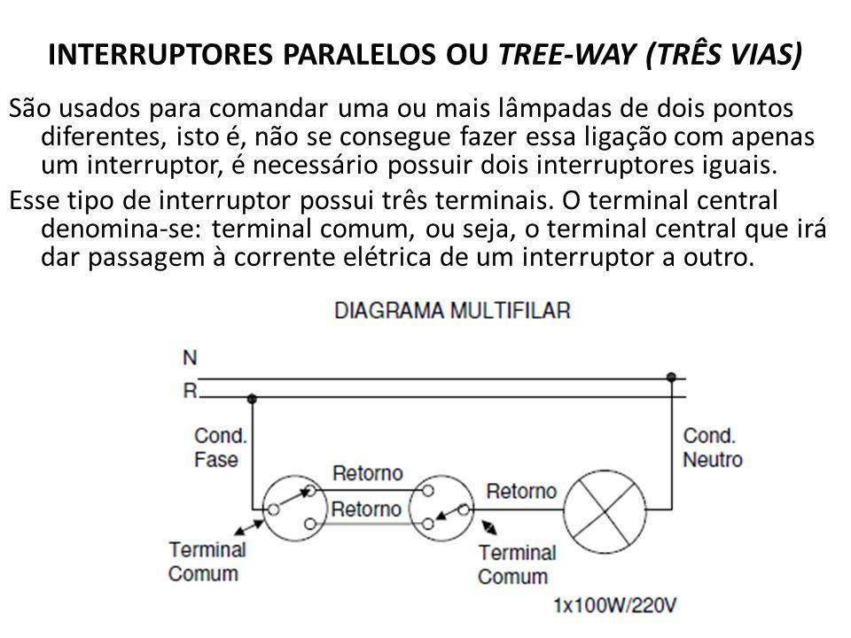INTERRUPTORES PARALELOS OU TREE-WAY (TRÊS VIAS) São usados para comandar uma ou mais lâmpadas de dois pontos diferentes, isto é, não se consegue fazer