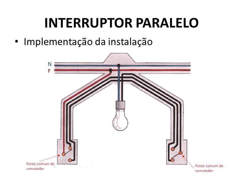 N F Ponto comum do comutador INTERRUPTOR PARALELO Implementação da instalação