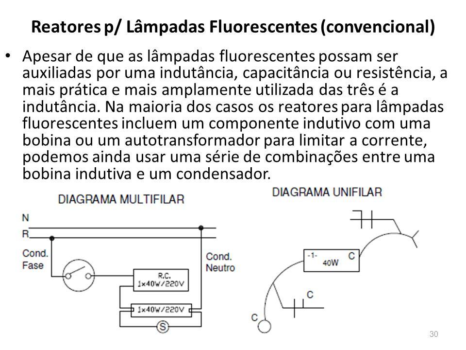 Reatores p/ Lâmpadas Fluorescentes (convencional) Apesar de que as lâmpadas fluorescentes possam ser auxiliadas por uma indutância, capacitância ou re