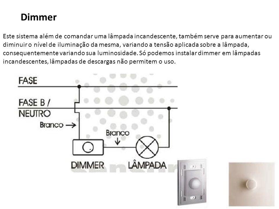 38 Dimmer Este sistema além de comandar uma lâmpada incandescente, também serve para aumentar ou diminuir o nível de iluminação da mesma, variando a t