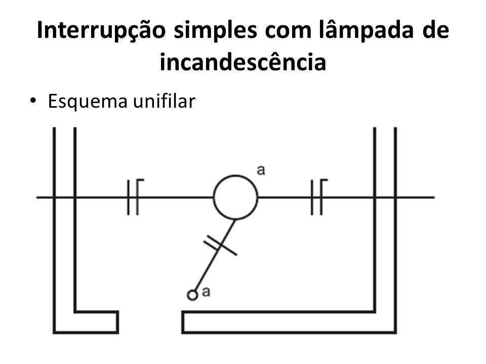 Interrupção simples com lâmpada de incandescência Esquema unifilar