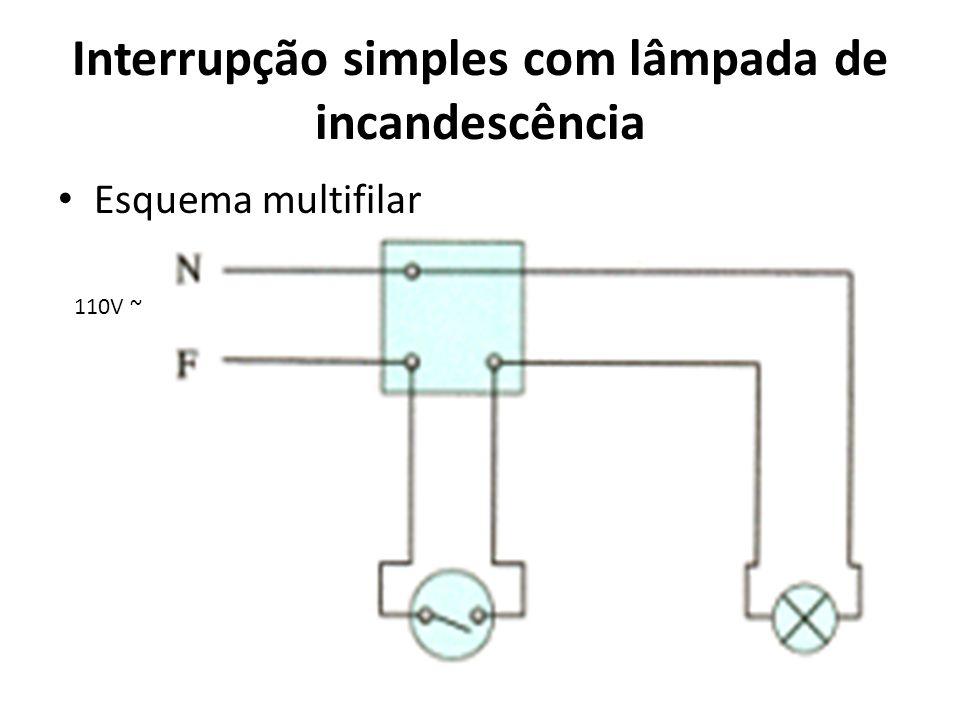 110V ~ Interrupção simples com lâmpada de incandescência Esquema multifilar