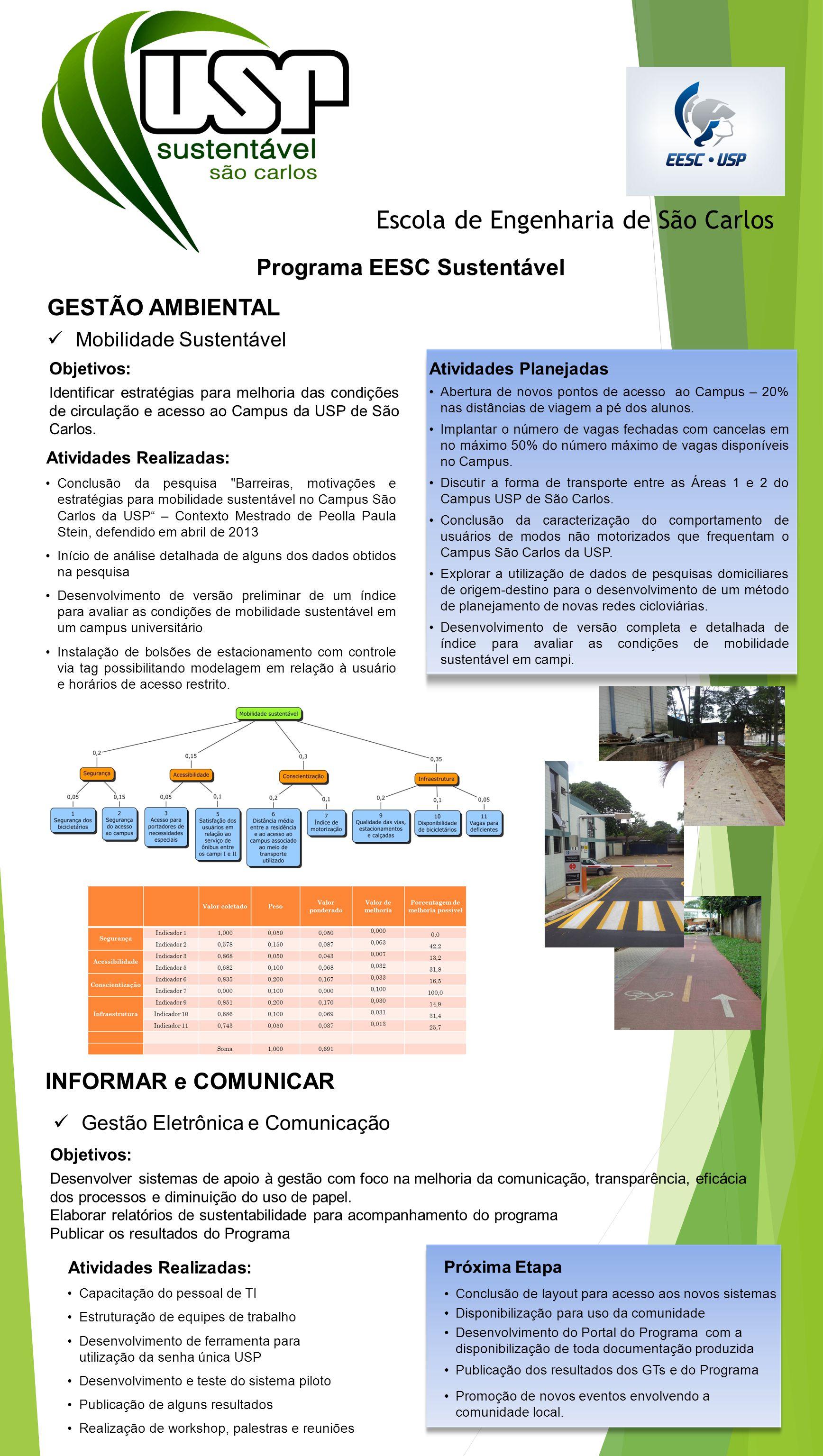 Escola de Engenharia de São Carlos Programa EESC Sustentável Mobilidade Sustentável GESTÃO AMBIENTAL Objetivos: Desenvolver sistemas de apoio à gestão com foco na melhoria da comunicação, transparência, eficácia dos processos e diminuição do uso de papel.
