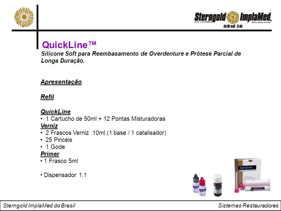 Sterngold ImplaMed do Brasil Sistemas Restauradores QuickLine™ Silicone Soft para Reembasamento de Overdenture e Prótese Parcial de Longa Duração. Apr