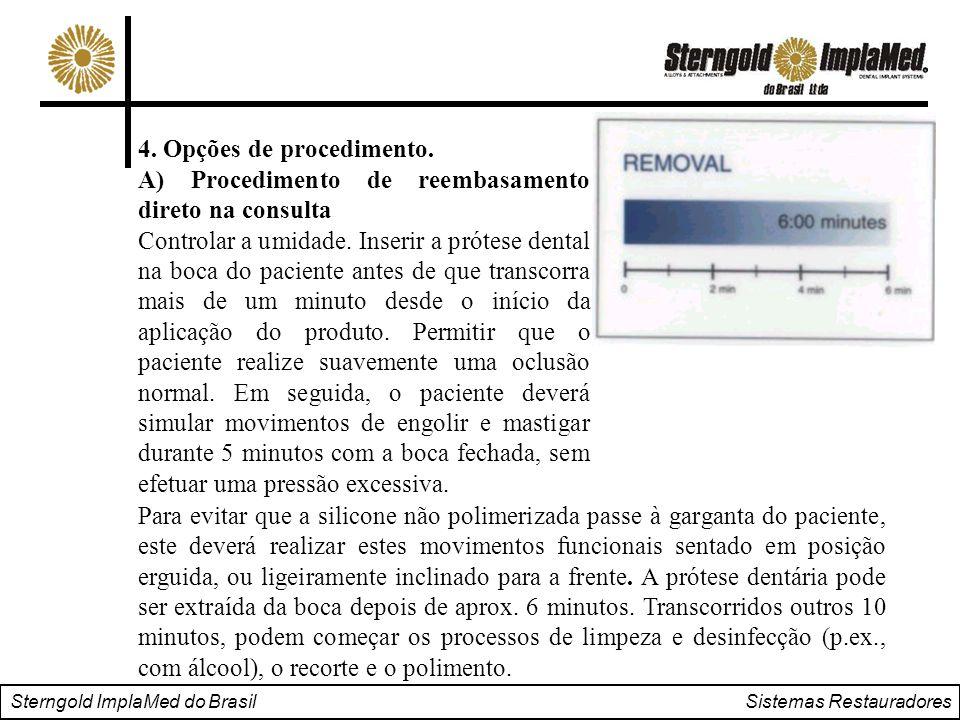 Sterngold ImplaMed do Brasil Sistemas Restauradores Para evitar que a silicone não polimerizada passe à garganta do paciente, este deverá realizar est
