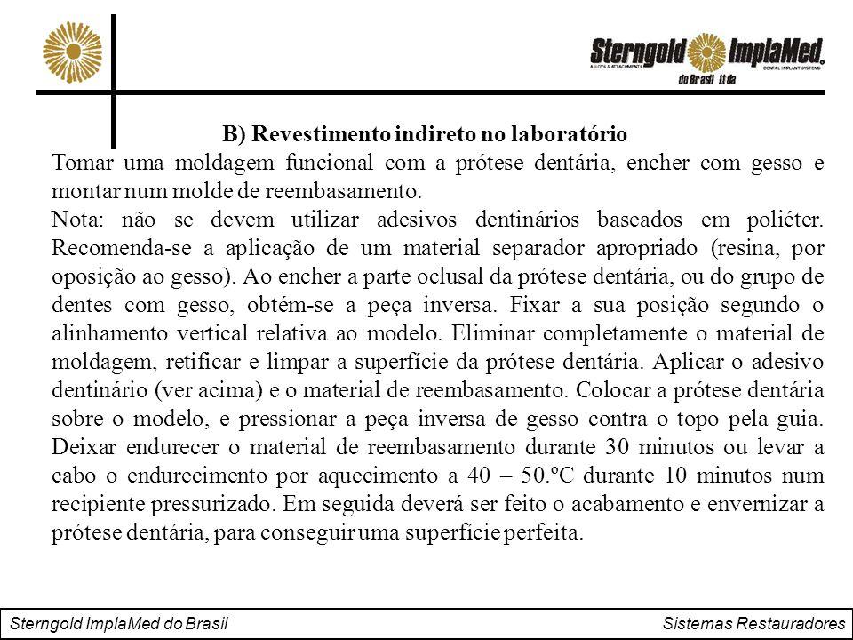 Sterngold ImplaMed do Brasil Sistemas Restauradores B) Revestimento indireto no laboratório Tomar uma moldagem funcional com a prótese dentária, enche