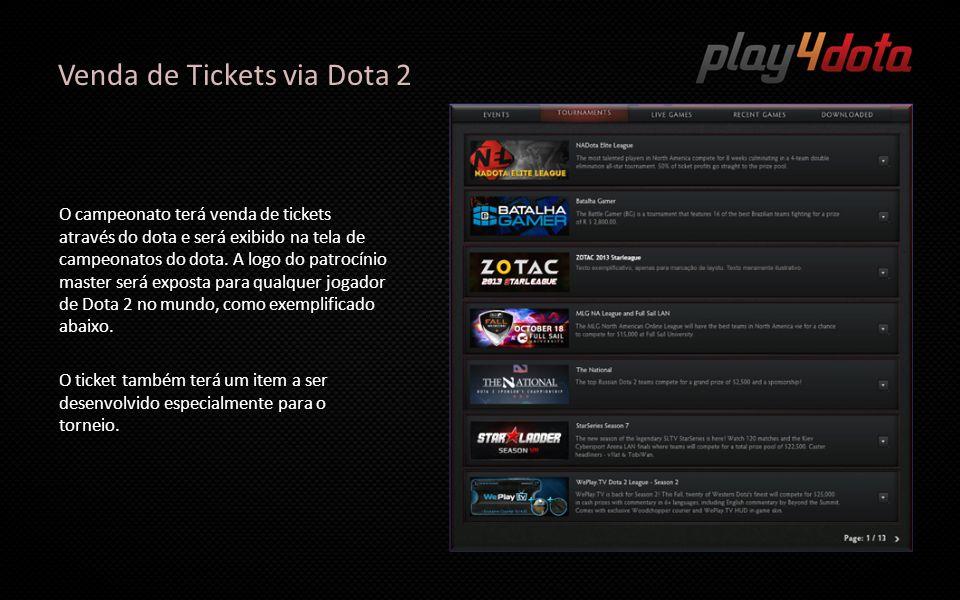Venda de Tickets via Dota 2 O campeonato terá venda de tickets através do dota e será exibido na tela de campeonatos do dota. A logo do patrocínio mas