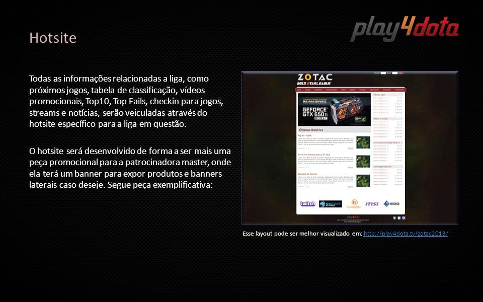Hotsite Todas as informações relacionadas a liga, como próximos jogos, tabela de classificação, vídeos promocionais, Top10, Top Fails, checkin para jo