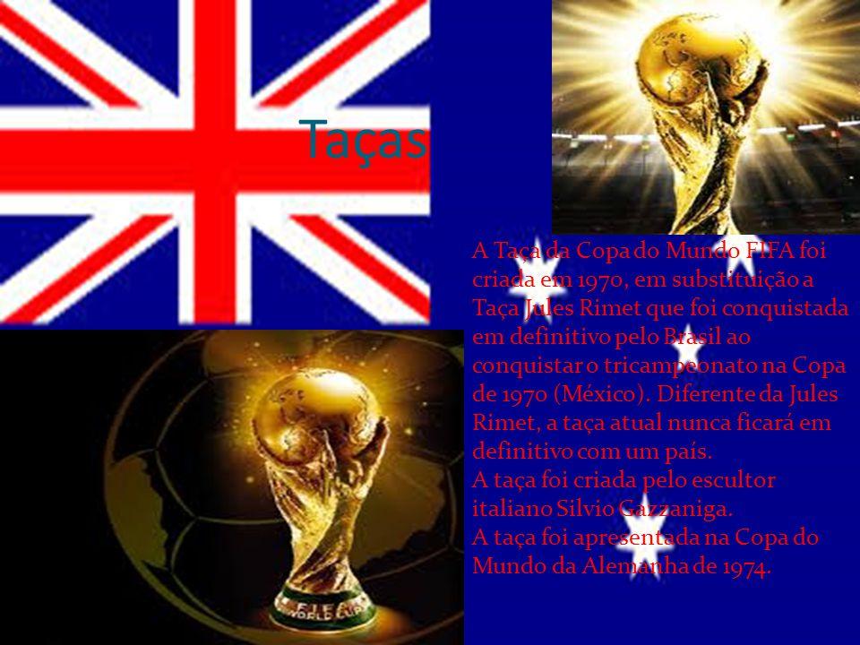 Taças A Taça da Copa do Mundo FIFA foi criada em 1970, em substituição a Taça Jules Rimet que foi conquistada em definitivo pelo Brasil ao conquistar