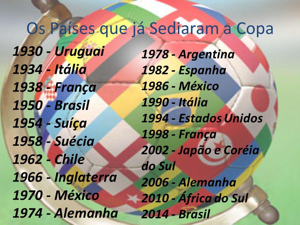 Os Países que já Sediaram a Copa 1930 - Uruguai 1934 - Itália 1938 - França 1950 - Brasil 1954 - Suíça 1958 - Suécia 1962 - Chile 1966 - Inglaterra 19