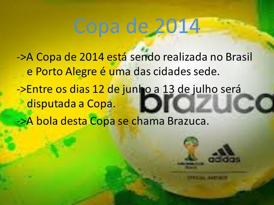 Copa de 2014 ->A Copa de 2014 está sendo realizada no Brasil e Porto Alegre é uma das cidades sede. ->Entre os dias 12 de junho a 13 de julho será dis