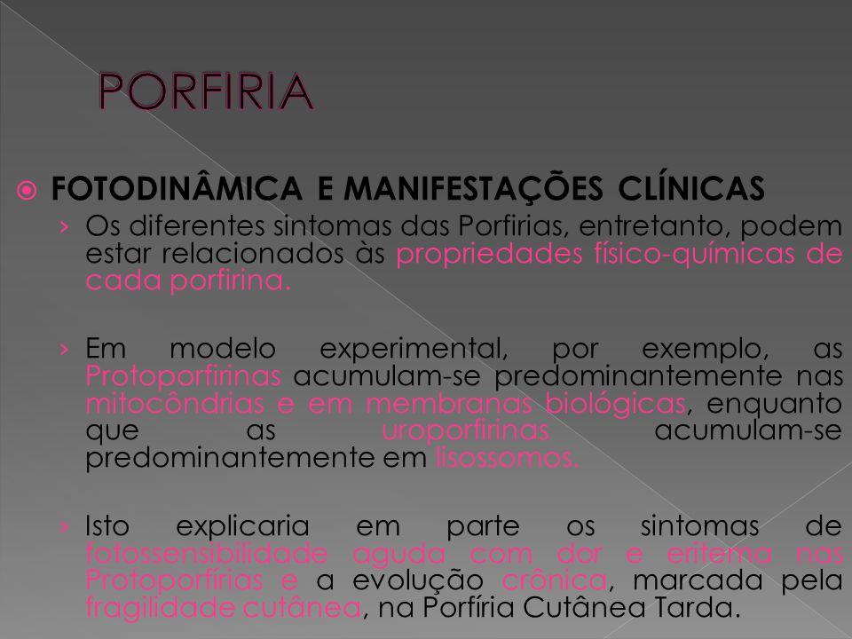  FOTODINÂMICA E MANIFESTAÇÕES CLÍNICAS › Os diferentes sintomas das Porfirias, entretanto, podem estar relacionados às propriedades físico-químicas d