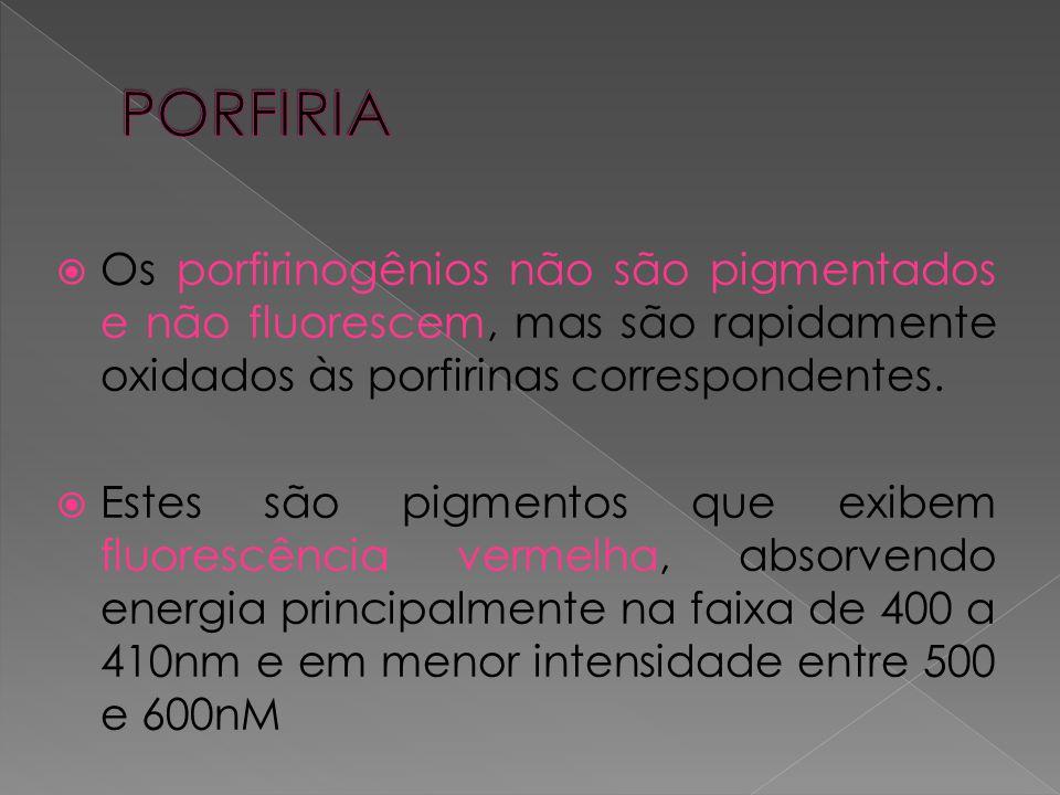  Os porfirinogênios não são pigmentados e não fluorescem, mas são rapidamente oxidados às porfirinas correspondentes.  Estes são pigmentos que exibe