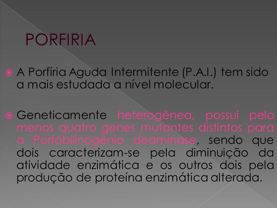  A Porfíria Aguda Intermitente (P.A.I.) tem sido a mais estudada a nível molecular.  Geneticamente heterogênea, possui pelo menos quatro genes mutan