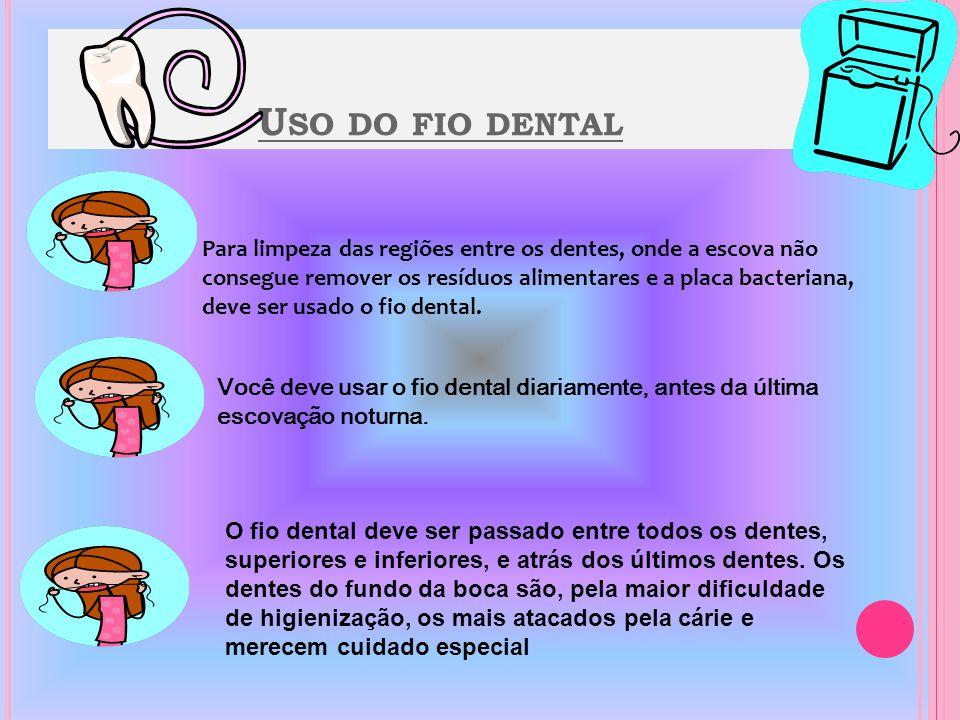 E SCOVAR A LÍNGUA TAMBÉM É IMPORTANTE Movimento de Varrer : Inicialmente, os movimentos devem ser feitos como se você estivesse varrendo a placa bacteriana da gengiva para os dentes.