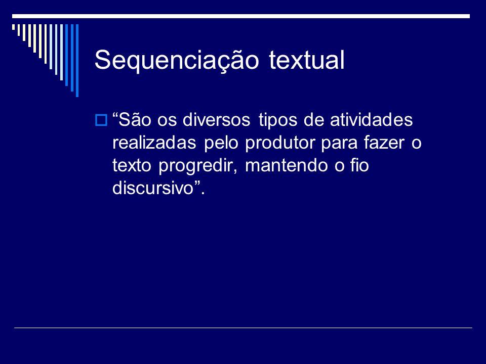  São os diversos tipos de atividades realizadas pelo produtor para fazer o texto progredir, mantendo o fio discursivo .