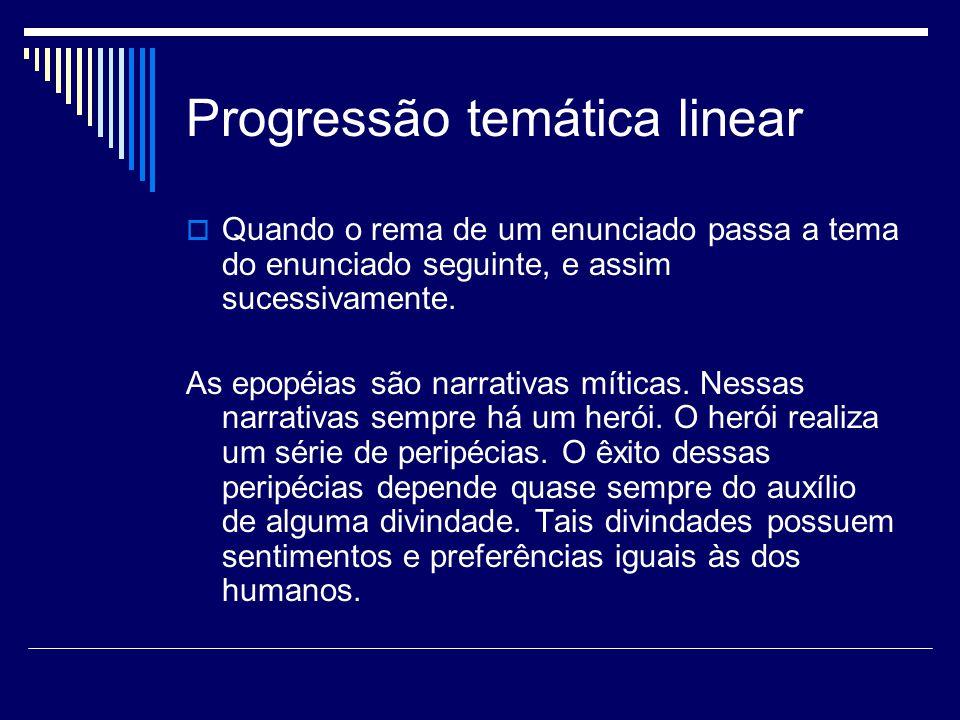 Progressão temática linear  Quando o rema de um enunciado passa a tema do enunciado seguinte, e assim sucessivamente.