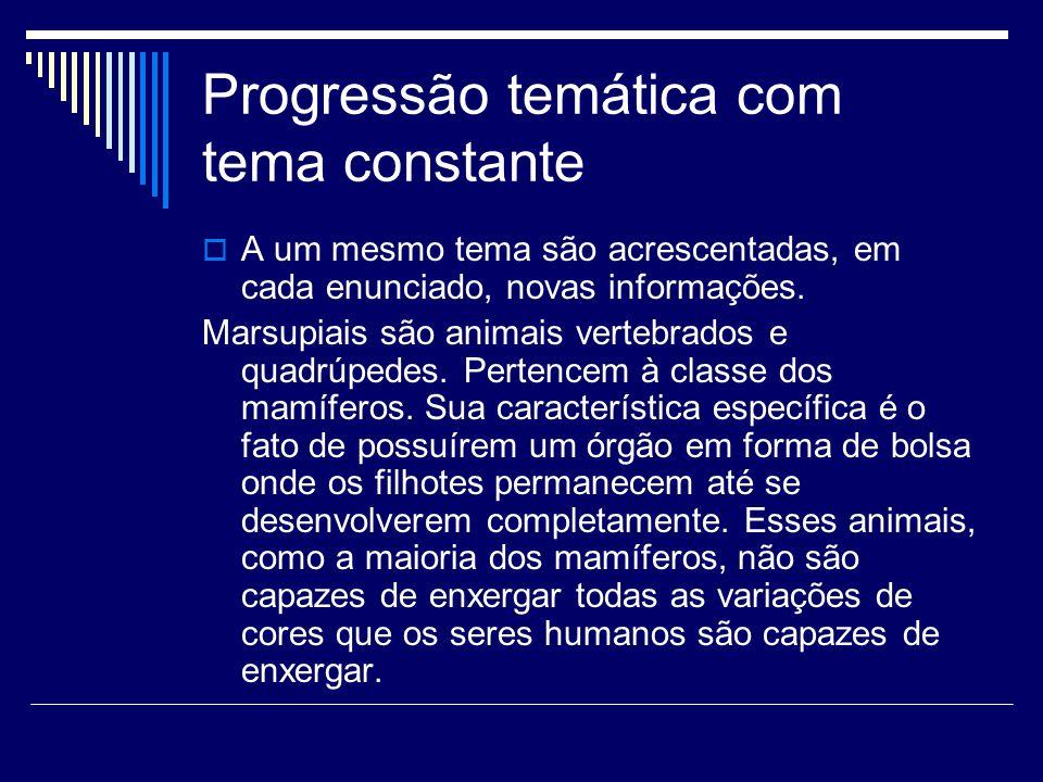 Progressão temática com tema constante  A um mesmo tema são acrescentadas, em cada enunciado, novas informações.