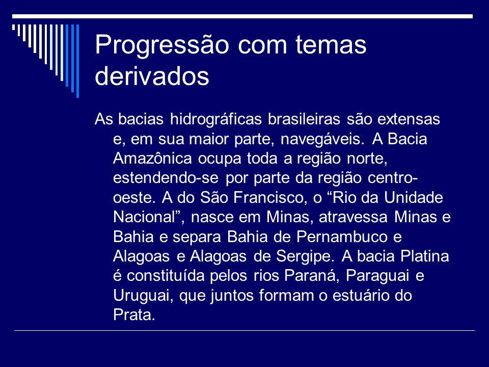 Progressão com temas derivados As bacias hidrográficas brasileiras são extensas e, em sua maior parte, navegáveis.