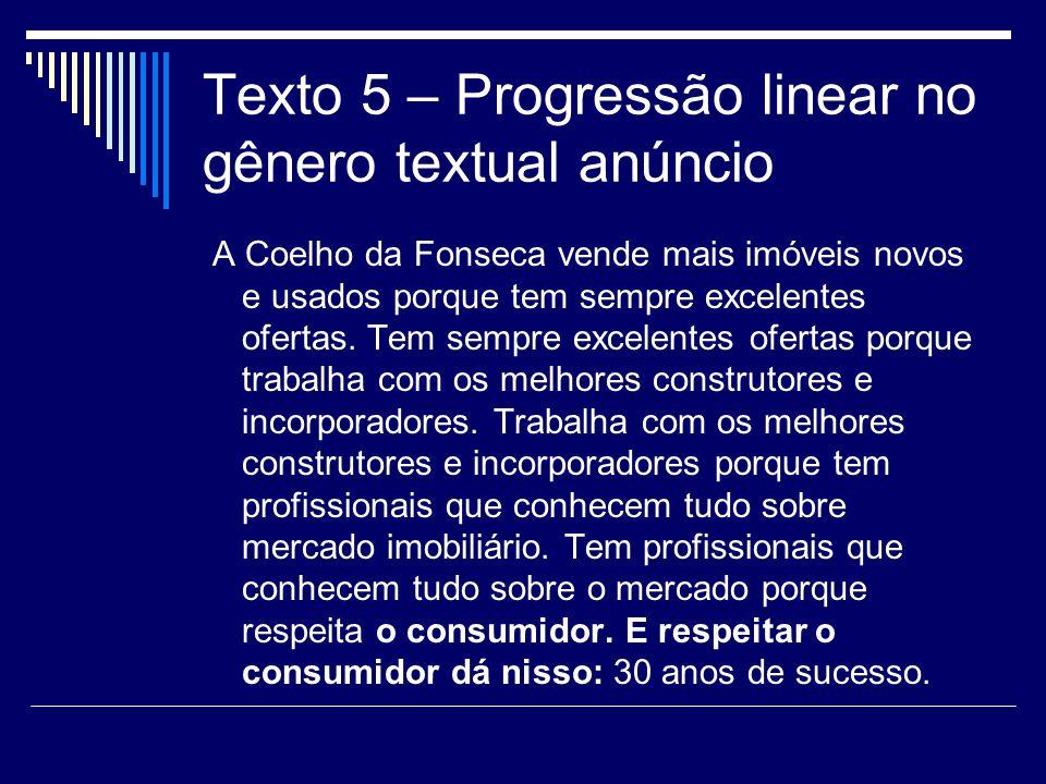 Texto 5 – Progressão linear no gênero textual anúncio A Coelho da Fonseca vende mais imóveis novos e usados porque tem sempre excelentes ofertas.