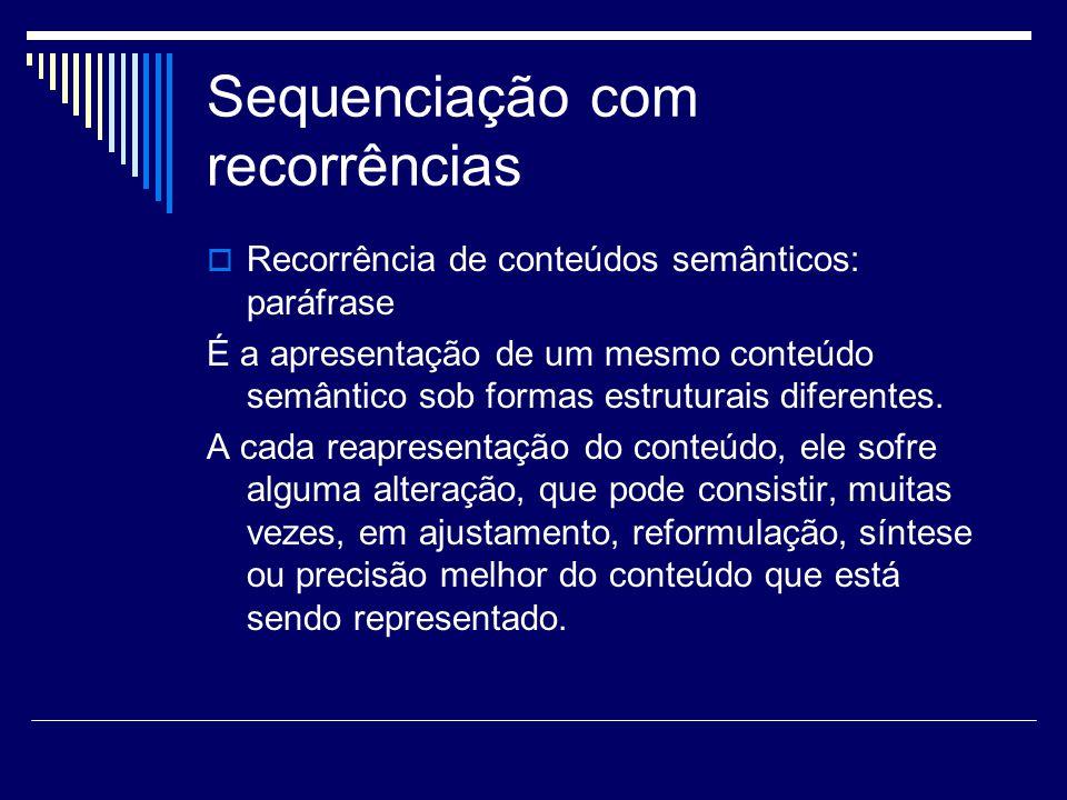 Sequenciação com recorrências  Recorrência de conteúdos semânticos: paráfrase É a apresentação de um mesmo conteúdo semântico sob formas estruturais diferentes.