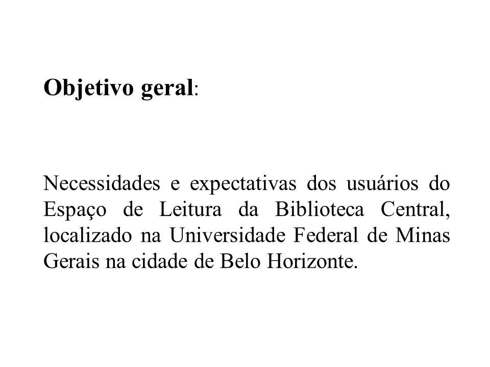 Objetivo geral : Necessidades e expectativas dos usuários do Espaço de Leitura da Biblioteca Central, localizado na Universidade Federal de Minas Gerais na cidade de Belo Horizonte.