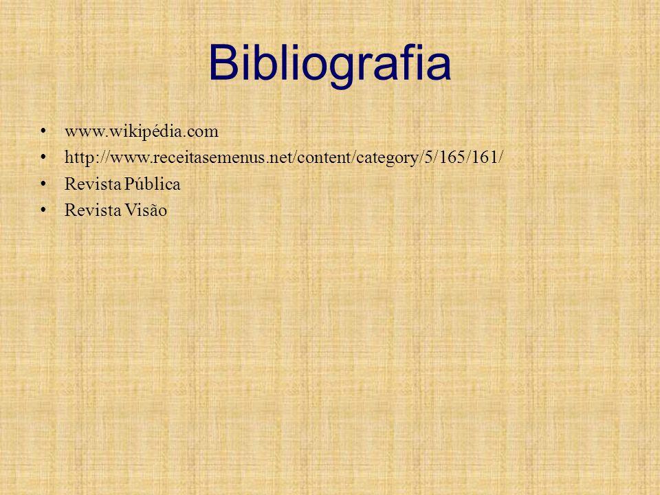 Bibliografia www.wikipédia.com http://www.receitasemenus.net/content/category/5/165/161/ Revista Pública Revista Visão