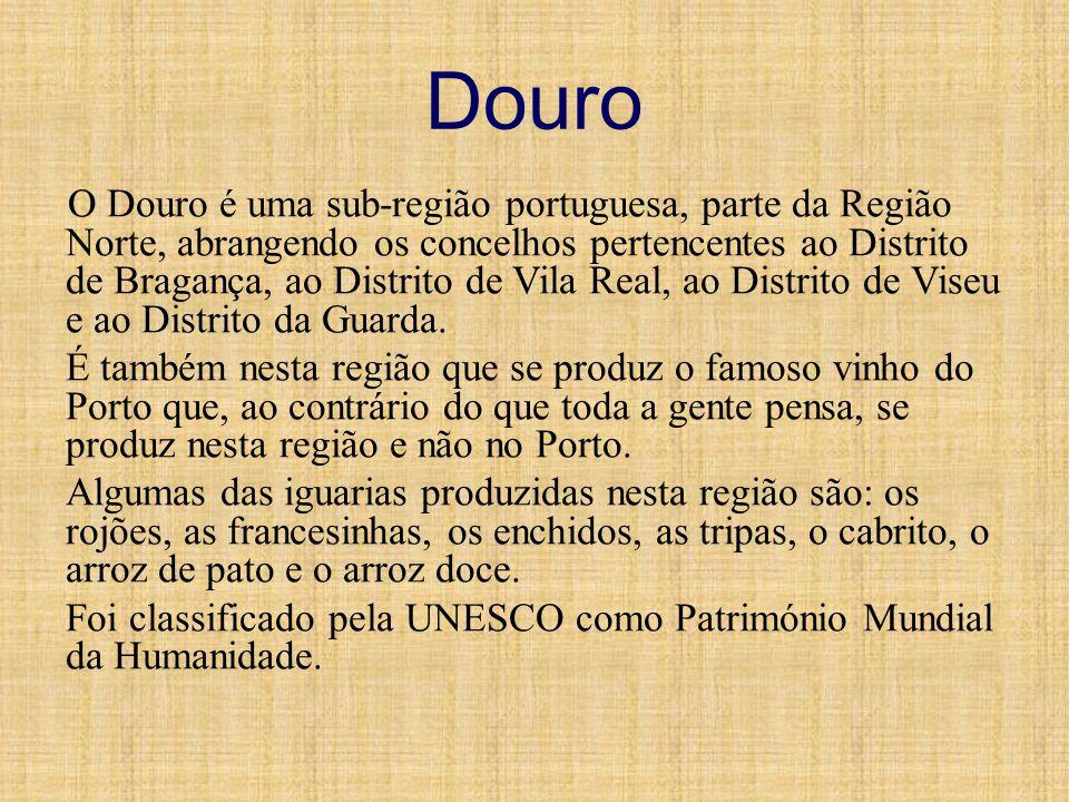 Douro O Douro é uma sub-região portuguesa, parte da Região Norte, abrangendo os concelhos pertencentes ao Distrito de Bragança, ao Distrito de Vila Re