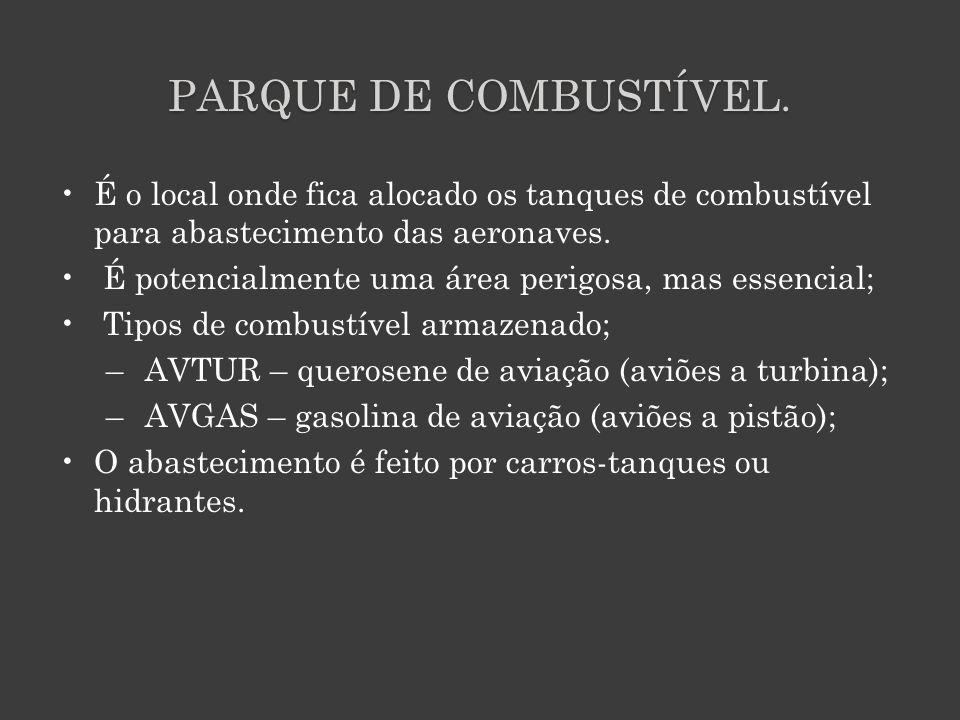 PARQUE DE COMBUSTÍVEL. É o local onde fica alocado os tanques de combustível para abastecimento das aeronaves. É potencialmente uma área perigosa, mas