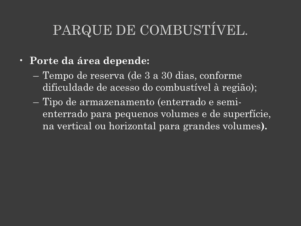 PARQUE DE COMBUSTÍVEL. Porte da área depende: –Tempo de reserva (de 3 a 30 dias, conforme dificuldade de acesso do combustível à região); –Tipo de arm