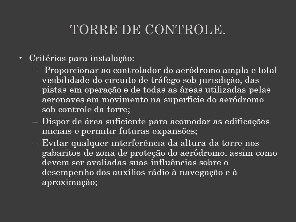 TORRE DE CONTROLE. Critérios para instalação: – Proporcionar ao controlador do aeródromo ampla e total visibilidade do circuito de tráfego sob jurisdi