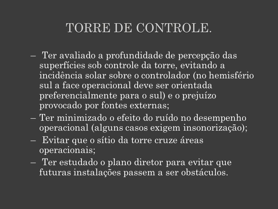 TORRE DE CONTROLE. – Ter avaliado a profundidade de percepção das superfícies sob controle da torre, evitando a incidência solar sobre o controlador (