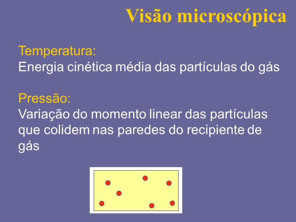 Visão microscópica Temperatura: Energia cinética média das partículas do gás Pressão: Variação do momento linear das partículas que colidem nas parede
