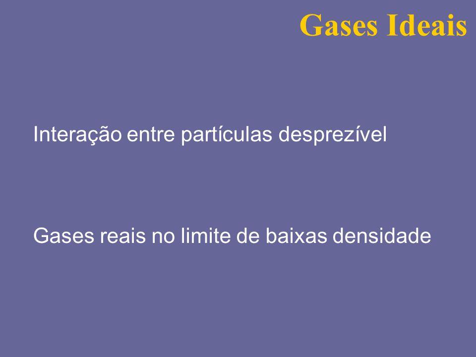 Gases Ideais Interação entre partículas desprezível Gases reais no limite de baixas densidade